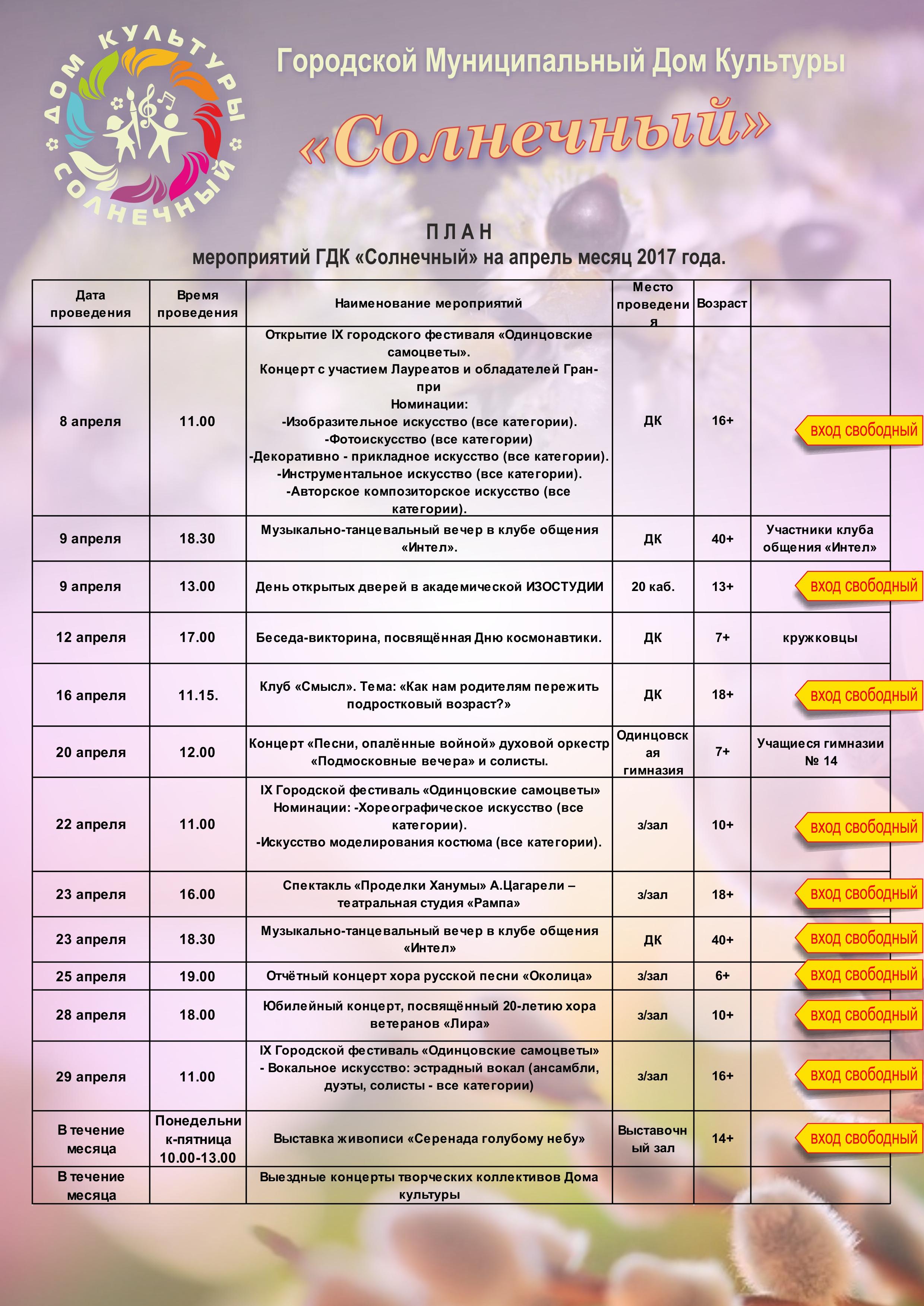 План мероприятий на апрель 2017